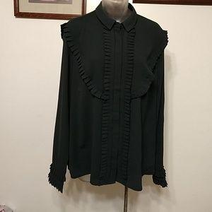Katherine Malandrino pleated button down shirt